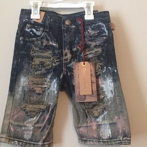 NWT trendy paint splatter and distressed shorts